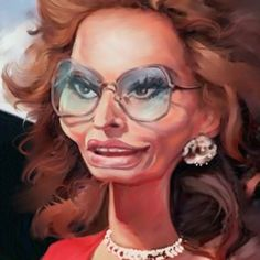 Sophia Loren by paoloongaro Funny Caricatures, Celebrity Caricatures, Celebrity Drawings, Cartoon People, Cartoon Faces, Funny Faces, Sophia Loren, Funny Drawings, Cartoon Drawings