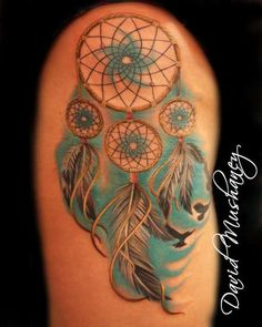 Dreamcatchers have been around for at least a few thousand years. Check out these wolf dreamcatcher tattoo designs and more! Time Tattoos, Leg Tattoos, Body Art Tattoos, I Tattoo, Tatoos, Color Tattoos, Sleeve Tattoos, Tattoo Designs For Women, Tattoos For Women