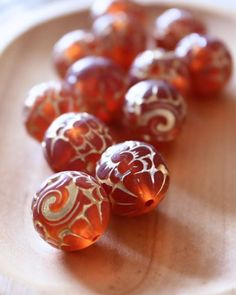 vintage lucite amber beads