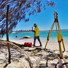 We all have projects we hate. This is NOT one of them. @mr_tj_jack surveying for a storm water upgrade at Golden Beach, Queensland, Australia.   #surveylife