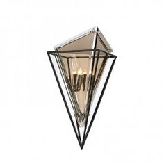 Crystal shaped wall sconce light in a black metal frame surrounded by grey misted shards of glass. Troy Lighting, Wall Sconce Lighting, Wall Sconces, Diamond Wall, Crystal Shapes, Outdoor Light Fixtures, Hudson Valley Lighting, Diamond Shapes, Polished Chrome