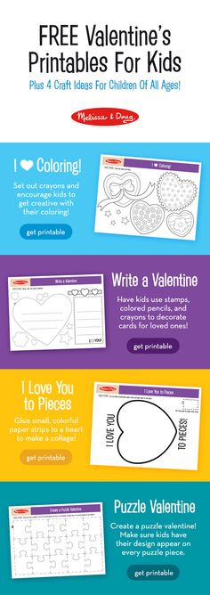 4 Valentine's day craft ideas for children of all ages – with FREE printables! Winter months mean lots of time indoors. Give kids a way to express their creativity by making Valentine's day crafts for friends and family! These are easy and fun ideas fo Creative Arts And Crafts, Crafts For Kids, Fun Ideas, Craft Ideas, Activity Sheets For Kids, Easy Coloring Pages, Valentine's Day Printables, Melissa & Doug, Plus 4