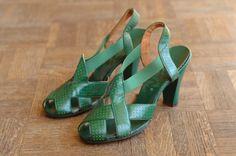 vintage NOS 1940s shoes / 40s green sandals / by honeytalkvintage, $160.00