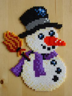 Snowman hama beads by Hester