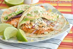 Seared salmon tacos with honey--lime slaw and sriracha ranch // Peas and Crayons