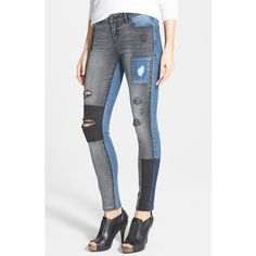 Women's kensie Colorblock Patch Denim Skinny Jeans (74 CAD) ❤ liked on Polyvore featuring jeans, pants, destroyed denim skinny jeans, destroyed jeans, destroyed denim jeans, skinny fit jeans and ripped skinny jeans