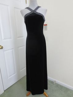 ADRIANNA PAPELL Dress 10 NEW Formal Black Velvet $139 X in Front Long Maxi #AdriannaPapell