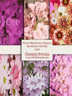 SCRAPBOOKING PAPER PACK set of 6 sheets. by ChangingArtitudes