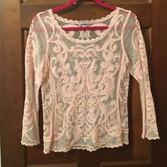 Light pink Lace 3/4 length sleeve top From Express never worn Express Tops Tees - Long Sleeve