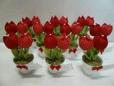 Tulipanes en tela.