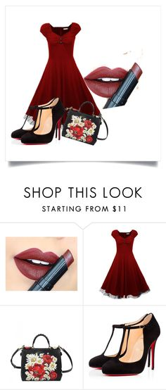 """""""doar atat...si sunt perfecta"""" by fluturash4 on Polyvore featuring Fiebiger, Dolce&Gabbana, Christian Louboutin, women's clothing, women, female, woman, misses and juniors"""