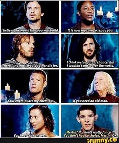 """""""The Knights"""", Gaius and Gwen all volunteer to fight alongside with Arthur vs Morgana and when Arthur looks to Merlin for his answer, Arthur makes his choice for him as usual. Love, Love, Love the Show!!"""