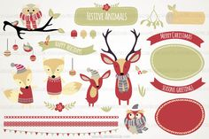 Ideal for Christmas projects. A set of woodland animals (foxes, deer and owls) wrapped up in hats and scarves. Plus various elements such as mistletoe, berries, tree branch and a log, to