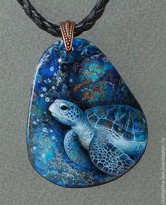 Купить На Черепашьей Глубине.. - лаковая миниатюра, лаконичное украшение, черепаха, роспись по камню