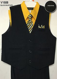 Boys Vest Set Style V1688- MUSTARD Shirt with BLACK Pinstripe Vest and Pants  This 4 piece pinstripe vest set is so polished and cool, watch your little one turn into a dapper prince instantly! Set comes with clip on tie, long sleeve shirt, vest, and pants. The handkerchief accent in pocket comes attached. Elastic waistband.  http://www.flowergirldressforless.com/mm5/merchant.mvc?Screen=PROD&Product_Code=CA_V1688MUS&Store_Code=Flower-Girl&Category_Code=Yellow