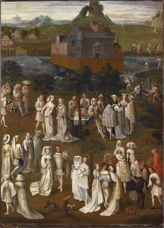 Garden party at the Court of Philip the Good of Burgundy. French 17th C copy of a lost early 15th C painting, possibly by Jan Van Eyck. Oil on canvas. Musee des Beaux-Arts, Dijon.