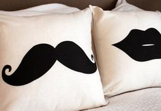 Moustache & Lips Throw Pillow Cushion Cover - Perfect Gift for a Couple for Movember via Etsy Cute Pillows, Diy Pillows, Decorative Pillows, Cushions, Throw Pillows, Sewing Art, Sewing Patterns, Diy Pillow Covers, Pillow Fight