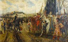 The capitulation of Granada, Boabdil confronts Ferdinand and Isabella (1882) by the Spanish artist Francisco Pradilla y Ortiz (1848-1921).