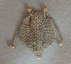 Silver Ring Reticule c 1800. Made up of fine twisted interlocking silver rings.