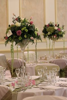 Martini vases - you can easily change the flower colours £60 exc. vase hire