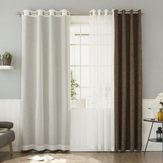 Best Home Fashion, Inc. Mix & Match Muji Sheer and Heathered Linen Look Blackout Curtain Panel Color: