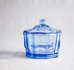 Clear Blue Glass Vintage Candy Bowl Candy Bar Urban by OllyOxes