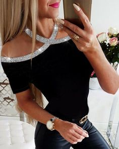 2020 Summer Women Elegant Basic Casual Top Female Lace-up Leisure Shirt Rhinestone Details Halter Short Sleeve Blouse Casual Tops, Casual Shirts, Sexy Bluse, Trend Fashion, Style Fashion, Latest Fashion, Fashion Outfits, Womens Fashion Online, Mode Outfits