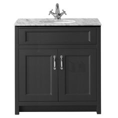 Chatsworth Graphite 810mm Vanity with Marble Basin Top  Profile Large Image
