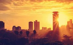 This is a beautiful sunset with the background of the central business district of Nairobi, Kenya.