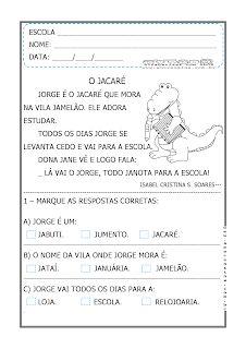 Alfabetizar com AMOR: JORGE, O JACARÉ - PEQUENO TEXTO PARA ALFABETIZAR - 1º ANO