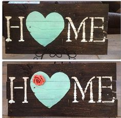 Wood pallet sign art HOME dark stain teal heart on Etsy, $35.00