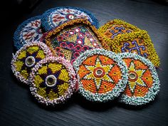 Vintage Beaded Afghani Gul i peron. These handmade discs and medallions are perfect for adorning a tribal belly dance belt or fusion headpiece.