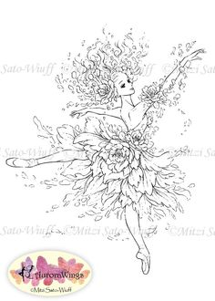 Instant Download Digital Stamp Ballet Flower by AuroraWings,