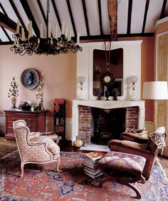 Classic Fireplace, Traditional Fireplace, Modern Interior, Oversized Mirror, House, Holiday Ideas, Furniture, Antique, Design