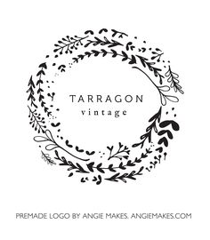 This Laurel Wreath Logo Includes Lovely Gold Text. Rock Your Brand With this Simple, Modern Logo.
