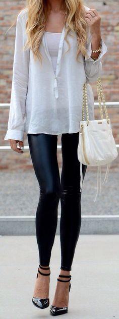 leather leggings + long white shirt