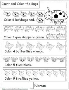 Bug Themed Math Worksheets...Made with the standards in mind, geared toward preschool, kindergarten and first grade. Let's Learn S'more!