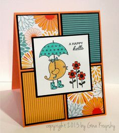 This is a cool way to use some of those coordinating papers in the 6x6 paper pads that I collect.   Spring Parade Scrappy Card Sketch - stampTV