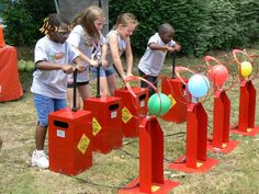 balloon races - carnival games...draw faces on them and fill with fake blood so when the balloon pops it will spray blood all over.