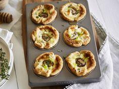 Ziegenkäse-Blätterteig-Muffins mit Champignons