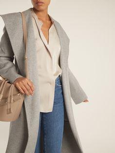 High-neck silk-blend satin shirt | Vince | MATCHESFASHION.COM