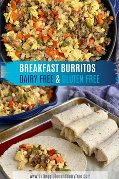 Don't these homemade breakfast burritos look amazing. Made with delicious and healthy ingredients, you can't go wrong with these dairy free and gluten free breakfast choices. Toss some peppers, sausag Dairy Free Breakfasts, Gluten Free Recipes For Breakfast, Homemade Breakfast, Gluten Free Frozen Meals, Easy Gluten Free Meals, Gluten Free Breakfast Casserole, Healthy Meal Prep, Healthy Snacks, Healthy Recipes