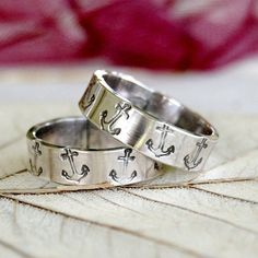 Anchor  Sterling Silver Ring Bands  Wedding Ring by lovestrucksoul, $72.00