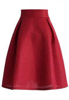 Honeycomb Mesh A-line Skirt in Red