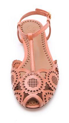 Tory Burch Peach Cutout Sandals