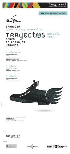 Material gráfico Trayectos 2011 Sala.  Diseño: Miguel Iguacen. All Black Sneakers