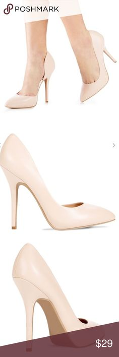 Nude pointed toe heels Brand new. PU leather pump with hidden platform. Great quality. Heel height approx 5 Shoes Heels