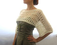 Cotton Summer Cropped Sweater Shrug in brick red color by Rumina