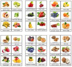 Cartes de nomenclatures fruits à imprimer et plastifier ! 7 planches PDF de 6…
