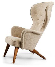 A Carl-Gustav Hiort af Ornäs easy chair, Gösta Westerberg AB, Stockholm 1950's.